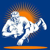 Rugby player scoring a try. Vector art of a Rugby player scoring a try Royalty Free Stock Photos