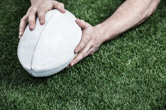 Rugby player scoring a try Royalty Free Stock Images