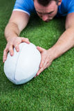Rugby player scoring a try Stock Images