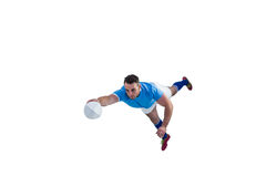 Rugby player scoring a try. On white background Stock Photography