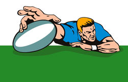 Rugby player scroring a try Stock Images