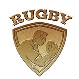 Rugby player shield metallic gold Royalty Free Stock Photography