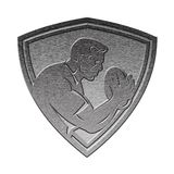 Rugby player shield metallic silver Royalty Free Stock Photos