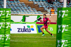 Rugby player sprinting. The Welsh Warriors beat Argentina 24-17 during the Safaricom Sevens Rugby tournament held at the Safaricom Stadium Kasarani on September royalty free stock photography