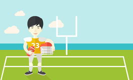 Rugby player on stadium. An asian rugby player with ball and helmet in hands standing on the stadium vector flat design illustration. Horizontal layout with a Stock Photos