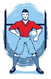 Rugby Player Standing Before Goal stock illustration