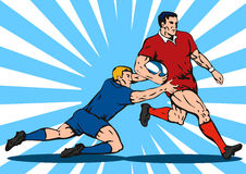 Rugby player tackling. Vector art of a Rugby player tackling stock illustration