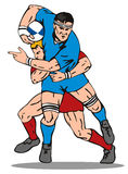 Rugby player tackling. Vector art of a Rugby player tackling royalty free illustration