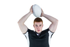 Rugby player about to throw a rugby ball Royalty Free Stock Photos
