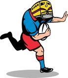 Rugby player train mascot running Royalty Free Stock Photography