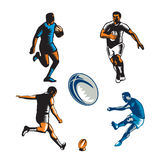 Rugby Player Woodcut Collection Royalty Free Stock Photo