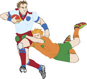 Rugby Players. Hand drawn rugby players. Highly detailed  image Stock Photo