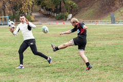 Rugby players in action Royalty Free Stock Images