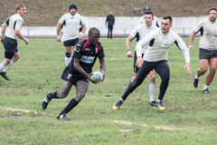 Rugby players in action Royalty Free Stock Photo