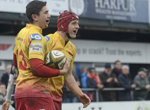 Rugby players celebrate scoring a try Royalty Free Stock Photos