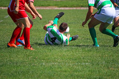 Rugby players on field Stock Photo