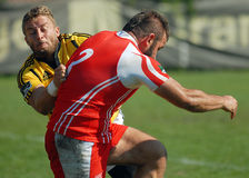 Rugby players fight for ball in Dinamo Bucharest-CSM Bucharest Royalty Free Stock Photos