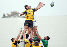 Rugby players fight for ball Stock Images