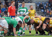 Rugby players fight for ball Stock Image