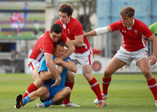 Rugby players fight for ball in Rugby 7's GP game Royalty Free Stock Photos