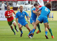 Rugby players fight for ball in Rugby 7's GP game Stock Photos