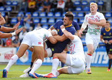 Rugby players fight for ball in Rugby 7's GP game Royalty Free Stock Images