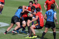 Rugby players. Fighting for ball during the match between Emerging Italy and Spain, World Rugby Nation Cup Stock Photography