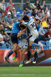 Rugby players. Fighting for ball during the match between Emerging Italy and Uruguay, World Rugby Nation Cup Stock Images