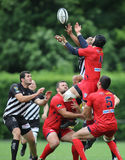 Rugby players fighting for the ball Royalty Free Stock Photos