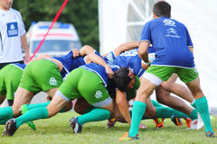 Rugby players from France fight for ball Royalty Free Stock Photo