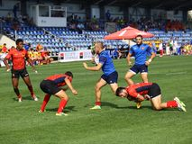 Rugby players. Pictured in action during a game between France and Belgium counting for Rugby 7`s GP which took place in Bucharest Stock Photo