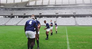 Rugby players playing rugby match in stadium 4k. Front view of diverse rugby players playing rugby match in stadium. Empty spectators seat in the background 4k stock video