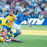Rugby players during Romania vs Emerging Italy Stock Photo