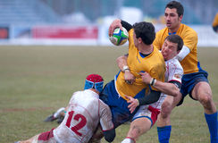 Rugby players during Romania vs Russia Royalty Free Stock Photo