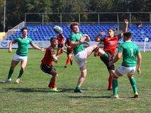 Rugby players. Pictured in action during a game between Ireland and Russia counting for Rugby 7`s GP which took place in Bucharest Stock Photography