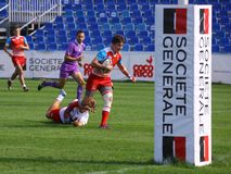 Rugby players. Pictured in action during a game between Poland and Russia counting for Rugby 7`s GP which took place in Bucharest Stock Images