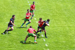 Rugby players on second stage of European championship on rugby-7 Royalty Free Stock Images