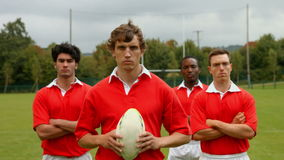 Rugby players standing together stock video