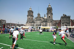 Rugby players on Zocalo in Mexico City Stock Image