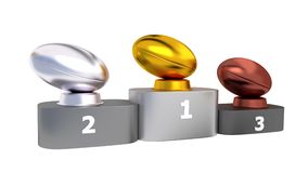 Rugby Podium with Gold Silver and Bronze Trophy in Infinite Rotation. 3D illustration of Rugby Podium with Gold Silver and Bronze Trophy in Infinite Rotation stock video footage