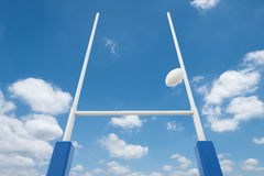 Rugby posts with blue sky Stock Image