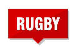 Rugby price tag. Rugby red square price tag Stock Images