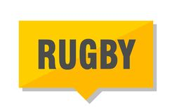 Rugby price tag. Rugby yellow square price tag Stock Photo
