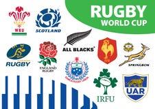 Rugby pucharu świata drużyny Zrzeszeniowi logowie Obrazy Stock