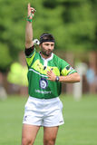 Rugby referee with  a video camera attached to his head Stock Images