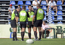 Rugby referees. Pictured during Romanian Superleague game between CSM Bucharest and RCJ Farul Constanta. CSM won, 28-21 Royalty Free Stock Image