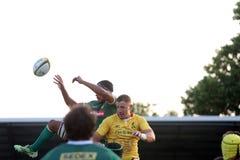 Rugby Rumänien - Brasilien stockfotos
