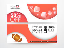 Rugby sale web banner or header. Royalty Free Stock Photography