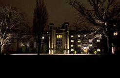 Rugby School lit up at night Royalty Free Stock Photos