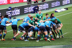 Rugby scrum. A big scrum during the rbs 6 championship match italy vs ireland at rome.7/2/15 Royalty Free Stock Photos